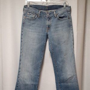 7FAM bootleg raw hem boot leg jeans low rise Sz29